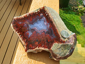 Large Show Block of Cherry Flame Agate