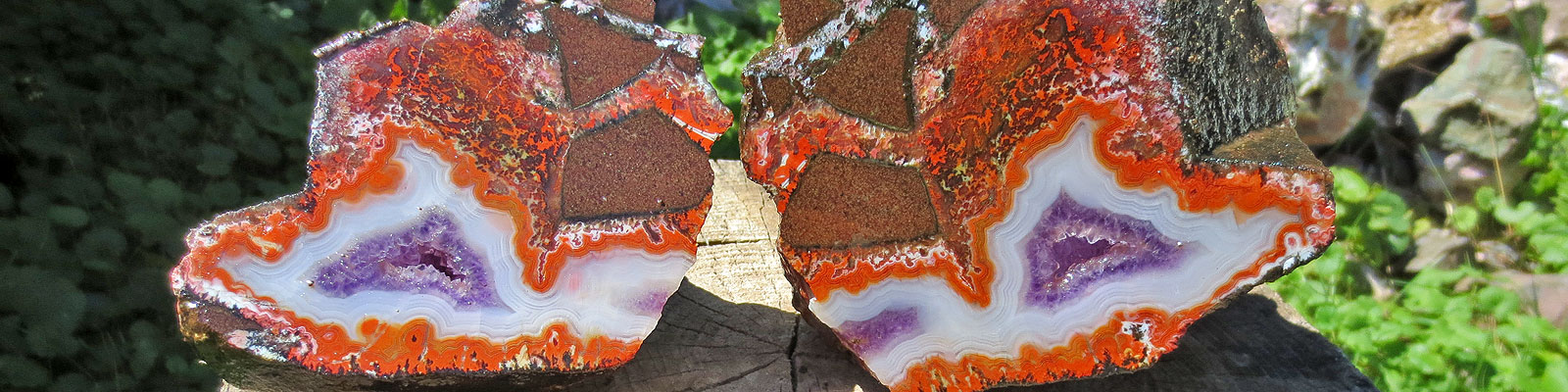 Orange Jasper with Banded Amethyst, Bay of Fundy, Nova Scotia